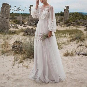 Ordifree 2020 Summer Women Long Tulle Dress Long Sleeve Embroidery White Maxi Tunic Beach Dress Y200623