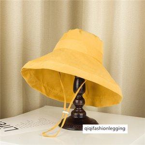 Solid color foldable sunscreen children summer fisherman big edge basin travel cloth sun hat