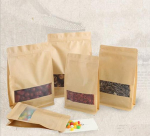Kraft Paper Box With Clear Window DIY Gift Packaging Food Storage Packing Oragan Bag For Snack Cookies Nuts DHL Free