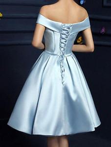Vestidos cortos de luz azul de cielo del partido con los bolsillos Off graduación arco de la cinta del hombro drapeado gasa vestido barato vestidos de baile corto barato