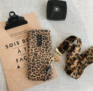 Fashion Leopard Print Phone Case For Samsung Galaxy S8 S8plus S10 S9 Plus Note 8 Note 9 Case Luxury Cover With Lanyard