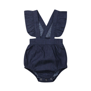 Vêtements bébé fille nouveau-né 2019 nouvel été bleu Denim Body mode sans manches volants Combinaisons One-piece Summer Outfit 0-24 M
