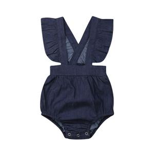 Ropa de bebé recién nacido 2019 Nuevo Verano Azul Traje de mezclilla Moda Sin mangas con volantes Monos Traje de verano de una sola pieza 0-24 M