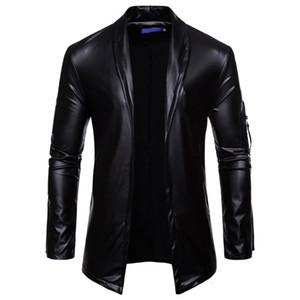 Uplzcoo черный PU кожаный костюм Blazer мужчин Slim Fit Solid Color Кардиган Casaco Блестящий блеск Мужчина для ночной клуб DJ Jaqueta EM151 T190917
