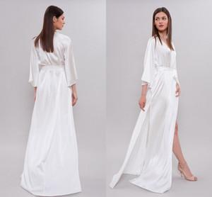 White Long Women Wedding Robes Silk Satin 3 4 Long Sleeve Sleepwear Bridesmaid Nightgown Bathrobes Lingerie Nightwear