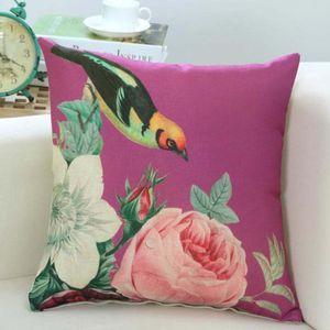 Schöne Blumen-Muster-Serie Kissenbezug Frühlings-Vogel-Blumenmuster Kissen Leinen 45x45cm Wohnzimmer Sofa Dekorative Kissen