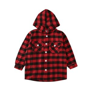 Fashion children's boy and girl shirt long-sleeved red plaid hoodie shirt 2019 NEW autumn outdoor kid coat clothes