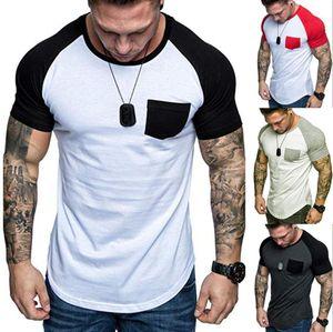Camiseta de los hombres de primavera y verano adelgazan raglán remiendo del bolsillo de manga corta Casual Patrón Camiseta Sport Tops Hombres Ropa tamaño M-3XL