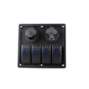 Wasserdichte Auto 4 Gang Rocker Switch Panel Dual USB Ladegerät Sockel cigaretter Feuerzeug mit LED-Licht für Boots-Marine-