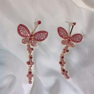 High-quality heavy industry zircon micro-inlaid silver needle earrings, colorful butterfly net red, same sweet pink earrings