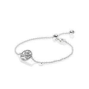Catena Sparkling Family Tree Slider nuovo braccialetto argento 925 pendente mano Bracciale scatola originale per Bracciali Pandora