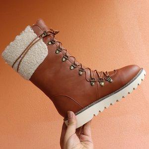 Winterstiefel Frauen Schneestiefel Warm Add Fur Flache Schuhe Frau Schnürsenkel Mittlere Waden Stiefel Große Größe 43