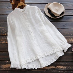 Women Clothing Women Blouse Plus Size Ruffle Top Women Linen Female Button Down Shirt 2019 Zanzea Asymmetrical Elegant Work Tunic Tops
