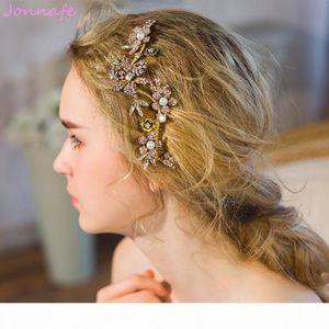 beijia Vintage Rhinestone Flora Hair Vine Wedding Comb Golden Bridal Headband Hair Jewelry Women Accessories Headwear