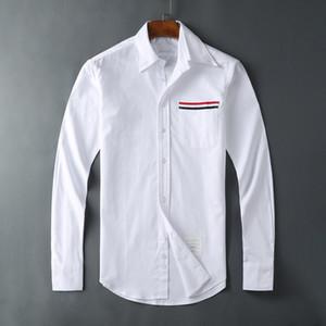 Мужская рубашка прилив Оксфорд новый карман Лента досуг самосовершенствование белая рубашка того же стиля для мужчин и женщин