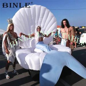 Venda quente personalizado 2m 3m 4m seashell gigante inflável LED, modelo clamshell inflável com luz conduzida para o partido / estágio decoração / casamento