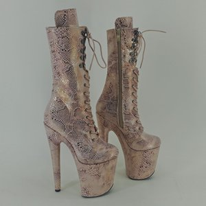 Leecabe 20CM / 8Inch femmes du parti Plate-forme disco High Heels Chaussures chaussure Pole Dance
