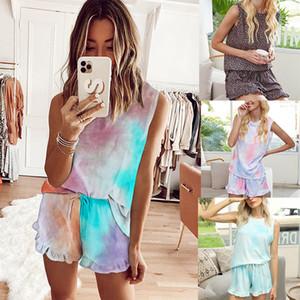 Womens Tie Dye Estate stampato leopardo breve Pajamas Set maniche PJ Set donne Abbigliamento casual Loungewear da notte Sleepwear