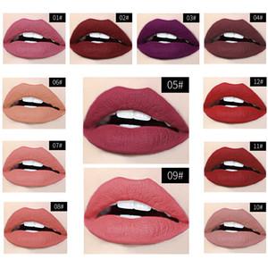 Ice Cream Lip Gloss 12 colores mate de niebla que no se pegue la Copa duradera líquido del lápiz labial de terciopelo mate ligero brillo de labios