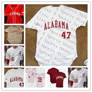 Personalizado dos homens NCAA Alabama Crimson Tide COLÉGIA Jersey Jersey Jimmy Nelson Alex Avila Mikey Branco Cody Henry Jett Manning Alabama camisas