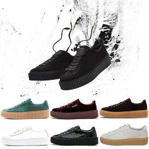 2019 Rihanna Fenty Creeper PM clássicos Basket Plataforma Calçados casuais Velvet Rachado camurça das mulheres dos homens da forma sapatilhas homens Designer