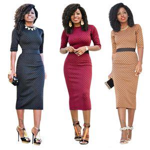 Vestito aderente donne eleganti aderente affari Abiti mezza manica vino rosso nero Partito Khaki primavera estate dalla signora dell'ufficio