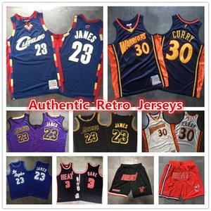Ritorno al passato autentico Lebron James 23 Stephen Curry 30 Dwyane Wade Miami 3CaloreClevelandCavaliersGuerrieri pallacanestro Jersey