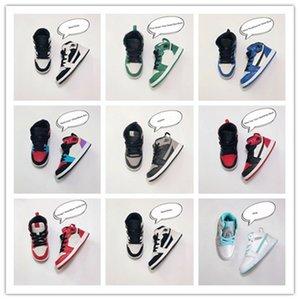 Мальчики 1S 1 Баскетбол Дизайнерские кроссовки Pine Green Game Royal Travis Скоттс Тень Чикаго Бред Melody Mid Multi-Color Детская обувь