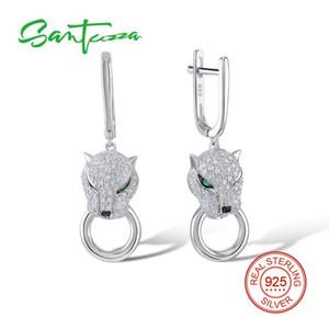 Santuzza boucles d'oreilles en argent pour les femmes 925 Sterling Silver Dangle Earrings Long Argent 925 Avec Zircon Brincos Bijoux C19041101