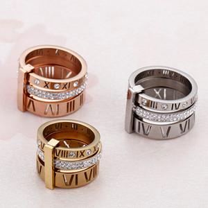 Anéis de strass para o aço inoxidável Mulheres Homens Rose Gold numerais romanos dedo Anéis de casamento Anel de noivado Jóias