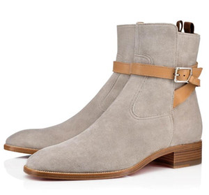 clássicos elegantes Kicko Suede Shoes Botas Red inferior Designer Femininos Roadie Samson Plano Médio Casual, Super Perfeito Botim Womens
