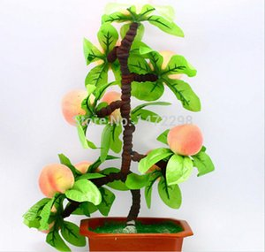 Sıcak Yapay Peach Tree Bonsai Ev Dekorasyon Sketching Aracı Yapay Çiçek Süs 10 Meyveler Dekoratif Çiçek