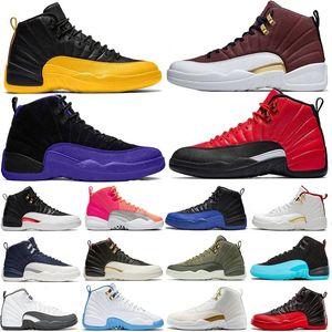 2020 New 12s Jumpman Université d'or noir Hommes Chaussures de basket Michigan jeu Royal White Retroes 12 Playoffs Français bleu de formateurs Designer