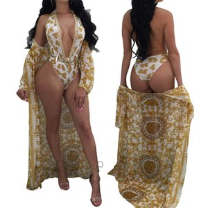 2020 New Explosion Models Swimsuit Pattern Printed Long Sleeve Blouse Sunscreen Halter Swimsuit Suit Size S-XL