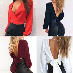 Femmes V Neck Backless Blouses Mode lanterne manches lacées en vrac Hauts Blouse Nouveau Vêtements Femmes Designer