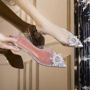 meifeini yeni şeffaf sandalet 2019 yaz moda jöle yapay elmas kadın sivri düşük topuklu ayakkabılar düz MX200407