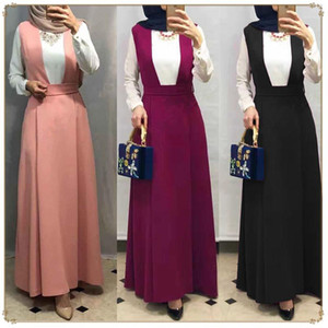 WEPBEL mulheres muçulmanas saia Oriente Médio árabe Sólidos Moda Abaya Plus Size solto Big balanço Strap saia longa islâmica Clothing1