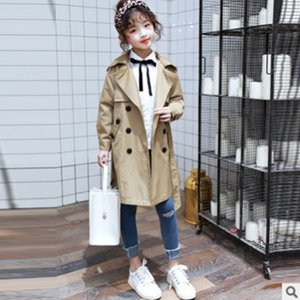 Girls Fashion Trench Coat 2020 New Spring Autumn Children's Medium-long Section Khaki Colors Girls Windbreaker Size4-14 ly256
