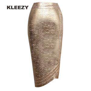 Сексуальная kleezy новый карандаш бандаж нерегулярные золотой юбка партии карандаш леди юбка h2377