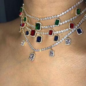 Bling buzlu Out Zincirler Kolyeler Tasarımcı Kadınlar Kristal Rhinestone Dikdörtgen kolye Altın Gümüş Kaplama Hip Hop Düğün Yaka gerdanlık Takı