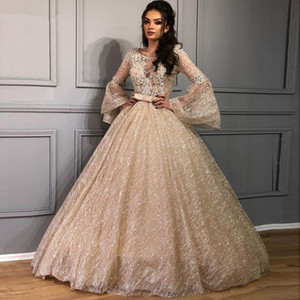 Glitter Tulle lace Quinceanera Dresses with Long Sleeve 2020 Gold Champagne Shiny Sequins Ball Gown Sweety 15 Prom Formal Dress