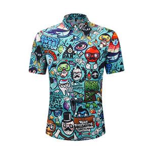 ONSEME Mens Verão Engraçado Dos Desenhos Animados Padrão Impresso Camisas 3D Masculino Streetwear Hipster Tees Camisa de manga curta camisa masculina