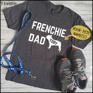 Customize Women Clothes 2020 Casual Tee Shirt Cotton T Shirt French Bulldog Dog Dad Print Couple Tshirts Chemise Femme