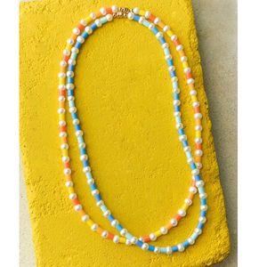 bohemian boho TURIN BLUE yellow women necklace collares grandes gargantilla Freshwater pearls magnetic closure long necklace