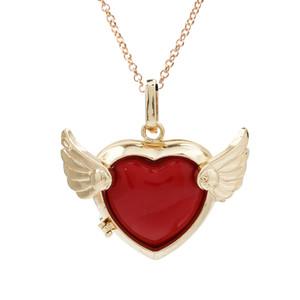 Gold Farbe Liebe Herz Flügel Ätherisches Öl Medaillon Aromatherapie Parfüm Anhänger Engel Bola Mexikanischen Glockenspiel Ball Diffusor Ball Halskette Mit Charme