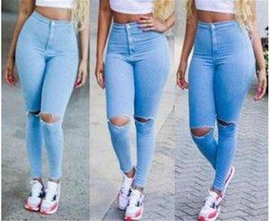 Uzun Kalem Pantolon Kız Yüksek Bel Moda Pantolon Kadın Düğme Fermuar Fly Jeans İlkbahar İnce Delik Jean