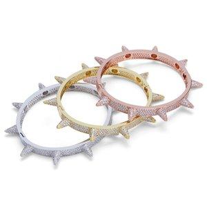 Party Hip Hop Iced Out Bling Cubic Zircon Hip Hop Rose Gold Silver Rivet Bracelets Spike Bangles Gifts for Men Women
