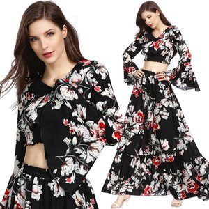 2020 New Style Slimming Long Maxi Summer Beach Dresses Two-piece Floral Skirt Suit Dance Long Suit