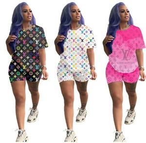 Lettre marque femmes Imprimer Survêtement à capuche T-shirt et shorts Top Set Mode Sport Costume Ensemble 2 pièces Vêtements d'été S-XXL