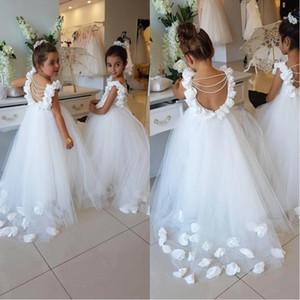 2019 Flower Girls Vestidos Para Casamentos Colher Ruffles Lace Tulle Pérolas Backless Princesa Crianças Pageant Vestidos de Festa de Aniversário BA9835